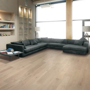 Shaw vinyl flooring in modern living room | Cherry City Interiors